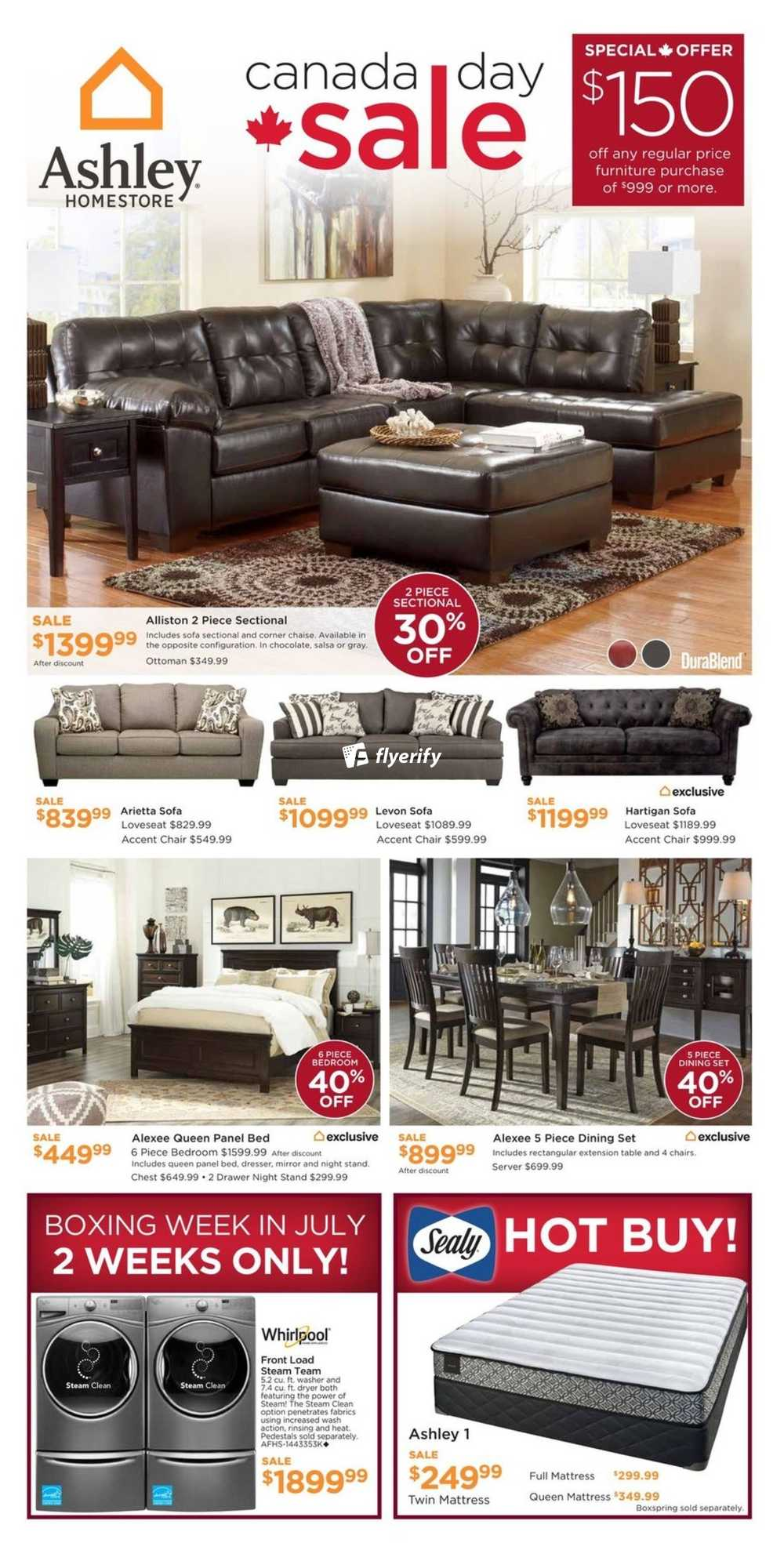 Ashley homestore west flyer june 29 to july 5 canada for Ashley furniture homestore canada