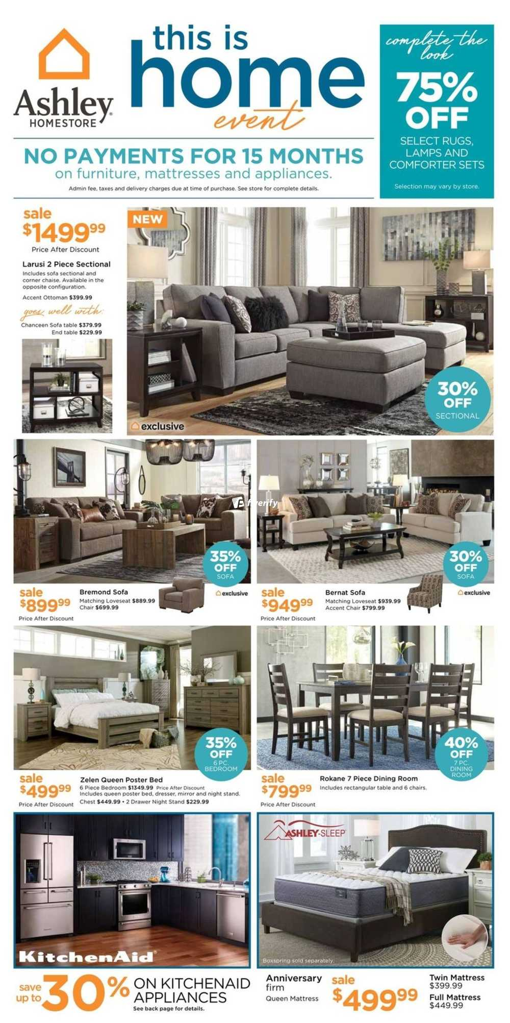 Ashley homestore west flyer august 17 to 30 canada for Ashley furniture homestore canada