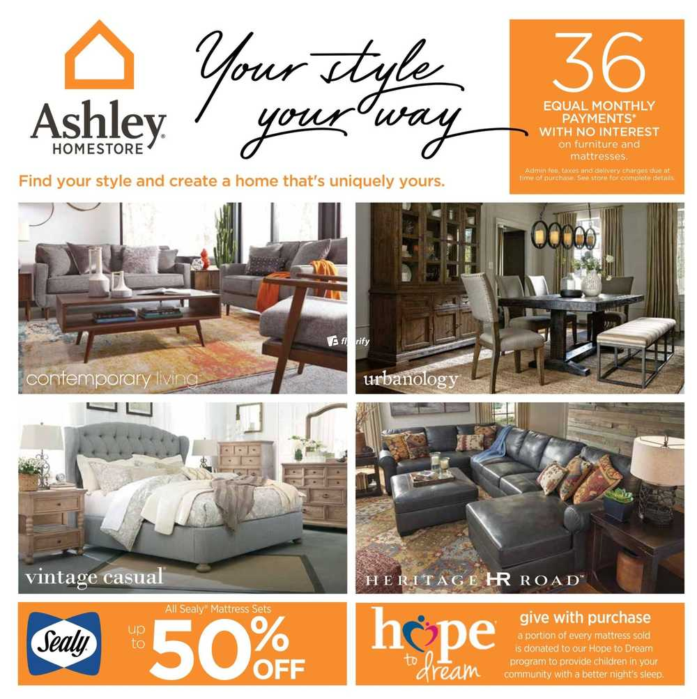 Ashley homestore on flyer september 7 to 27 canada for Ashley furniture homestore canada