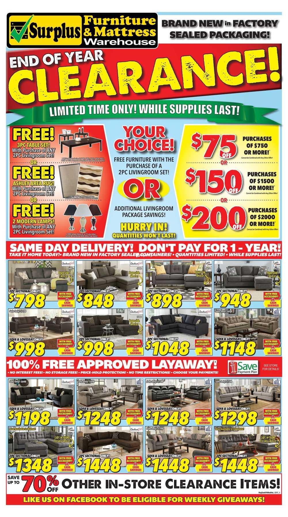 Surplus Furniture U0026 Mattress Warehouse (Saskatoon) Flyer November 28 To  December 18