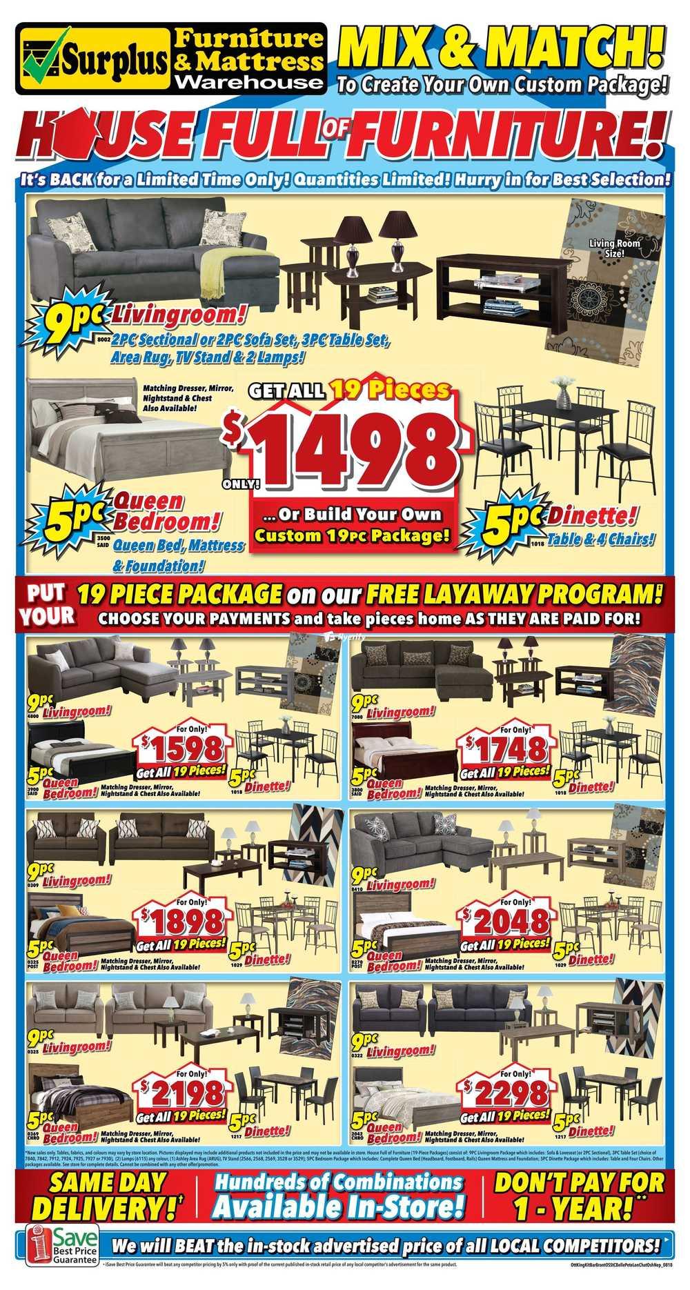 Surplus Furniture Mattress Warehouse Kitchener Flyer July 31 To August 27
