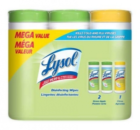 LYSOL DISINFECTING WIPES: 3x35CT Multi Pack (2 Green Apple,
